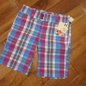 roxy girl plaid shorts new size 12